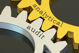 Analytical Audit concept on the gearwheels, 3D rendering