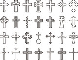 CHRISTIAN CROSSES outline icons