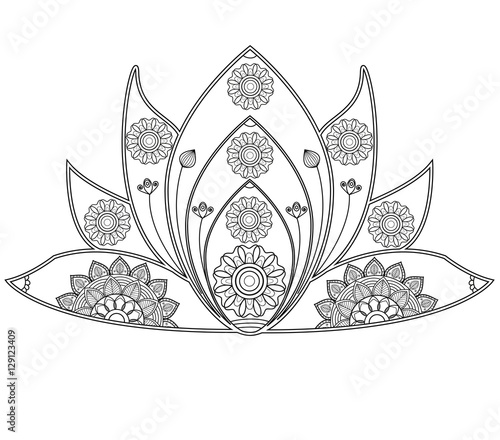 Vector Illustration Of Mandala Lotus Flower For Coloring Book Fiore Di Loto Da Colorare