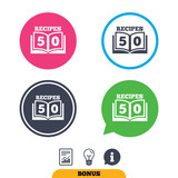 Cookbook sign icon. 50 Recipes book symbol. Report document, information sign and light bulb icons. Vector