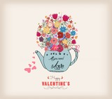 Valentines day card. Beautiful card with watercolor flowers. Cup of tea with love