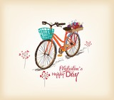 Valentines day background with a bike
