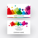 Vector abstract rainbow squares and pixel . Business card
