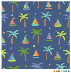Cute sailboat and coconut tree seamless vector pattern