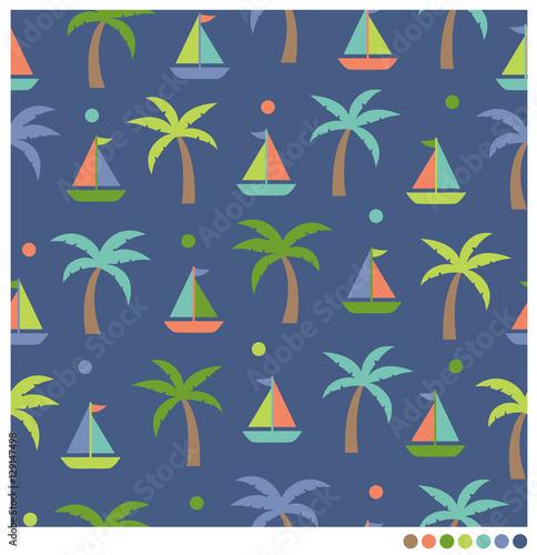 Fototapeta Cute sailboat and coconut tree seamless vector pattern