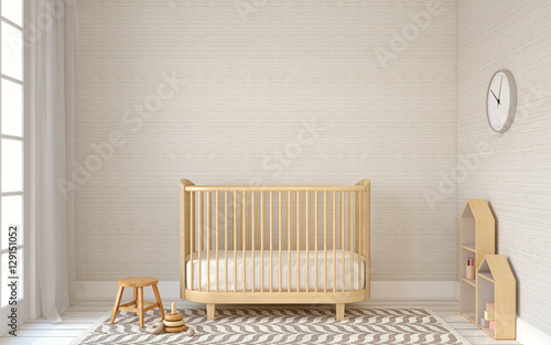 Interior of nursery. 3d render.