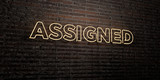 ASSIGNED -Realistic Neon Sign on Brick Wall background - 3D rendered royalty free stock image. Can be used for online banner ads and direct mailers..