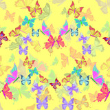 Seamless pattern lovely multicolored butterflies fly in the form