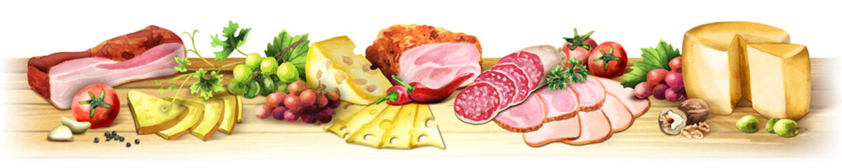 Panoramic image of smoked meat, sausages and cheese on a white background. Can be used for kitchen skinali. Watercolor © dariaustiugova
