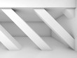 Abstract white 3d room with diagonal columns