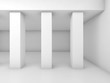 Abstract white empty room with three columns