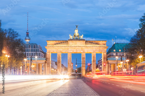 Berlin Brandenburg gate at night, long exposure Poster