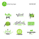 Hand lettering vector logo of vegetarian ecology fresh food.