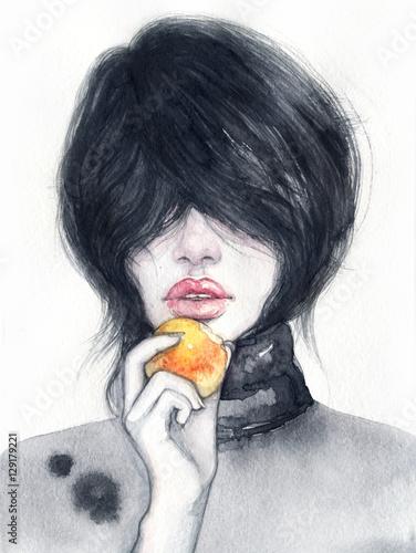 Woman portrait. Fashion illustration. Watercolor painting - 129179221