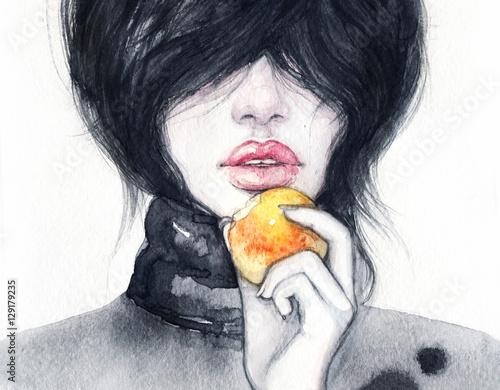 Woman portrait. Fashion illustration. Watercolor painting - 129179235