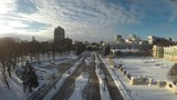 Kiev winter, Mariinsky park, aerial view, raw