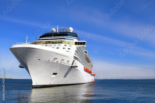 Poster Luxury Cruise Ship Sailing to Port