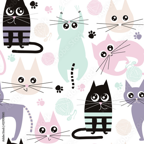 Seamless pattern with funny cats. Kids fabric texture. Vector Illustration - 129190060