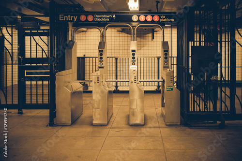 Vintage tone New York City subway turnstile Poster