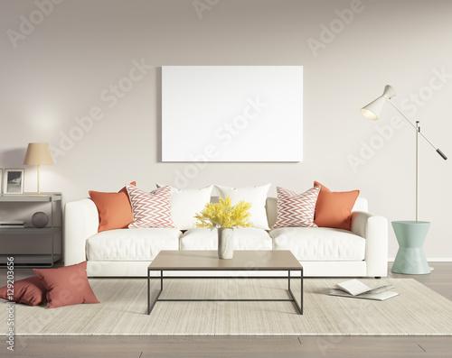 Contemporary modern interior with white sofa