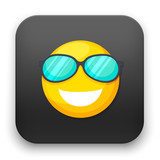 flat Vector icon - illustration of smiley face with sunglasses icon
