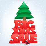 Big xmas sale banner template with christmas tree