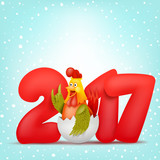 Funny rooster character. 2017 invitation card template