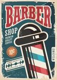 Barber Shop retro vector poster design template on blue background