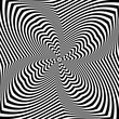 Abstract op art design. Torsion rotation movement.