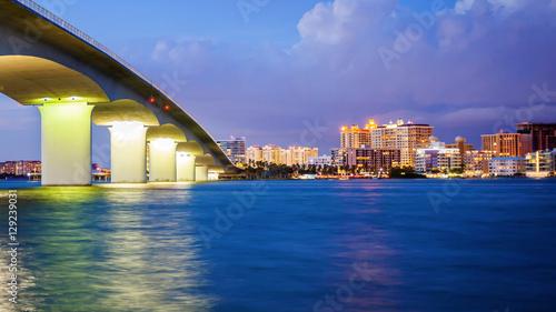 Sarasota, Florida Skyline and Bridge Across Bay at Night