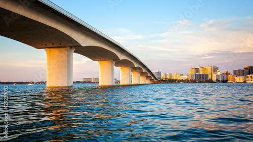 Sarasota, Florida Skyline and Bridge Across Bay