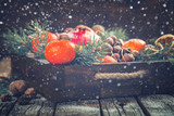Christmas New Year  card. Tangerines,Nuts,Pomegranate,Citrus,Tree Branches  in a wooden box.Festive Background.Drawn Snowfall.Toned image.Vintage style.selective focus.