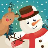 happy merry christmas snowman character vector illustration design