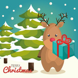 reindeer character christmas icon vector illustration design