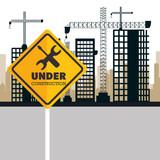 buildings under construction icon vector illustration design