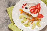 Kids breakfast toast with fruit