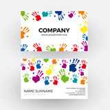 Vector abstract colorful handprints. Business card