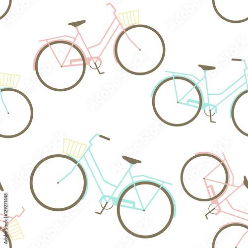 Cotton fabric Seamless Pattern with Bikes