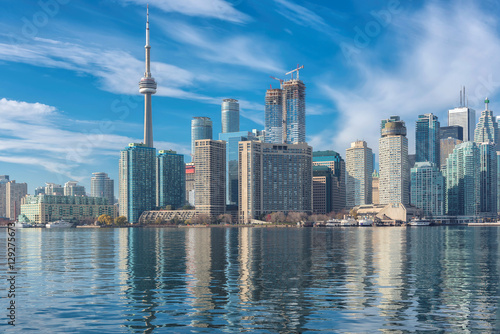 Skyline of Toronto with CN Tower over Ontario Lake Poster