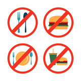 No Eating Drinking Forbidden Icon Symbol Collection