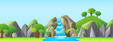 Nature scene with waterfall and mountains - 129285439