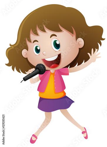 Fotobehang Muziek Little girl singing with microphone