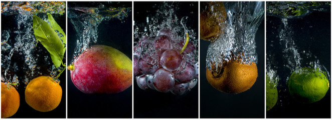 Fruits falling into the water with splashes and bubbles. Collage of photos.