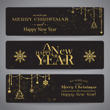 Merry Christmas banners with beads