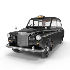 Classic black British taxi on white. 3D illustration