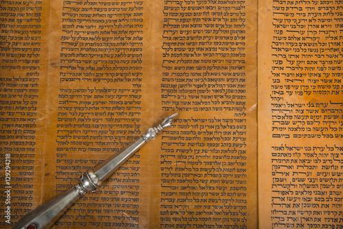 an ancient torah scroll close up Poster