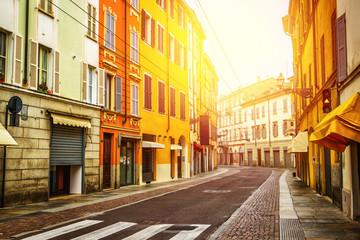 Colorful old street in Parma, Emilia-Romagna region, Italy.
