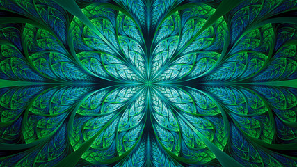 Abstract fractal background, blue-green mosaic pattern with curved stripes