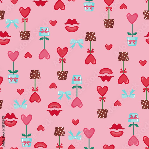 Cotton fabric Valentines day seamless pattern.