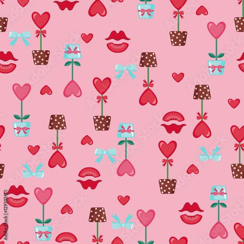 Materiał do szycia Walentynki-dzień jednolity wzór.